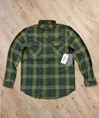 NEW Burton Snowboards Brighton Tech Flannel Riding Shirt. Forest Green Plaid