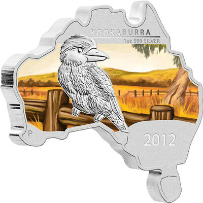 Australia 2012 1$ Kookaburra - map-shape Colored Silver BU Coin