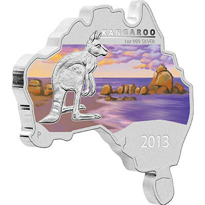 Australia 2013 1$ Discover Australia  - Kangaroo Colored Proof Silver Coin