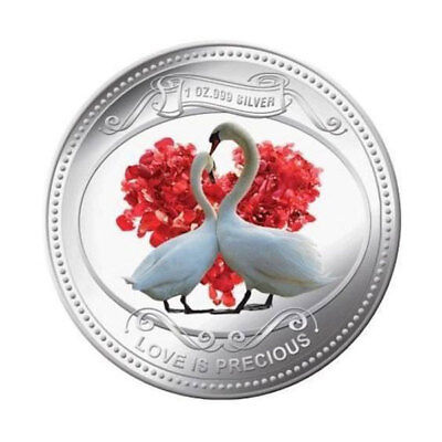 Niue 2010 2$ Love is Precious 2010 - White Swans Proof Silver Coin
