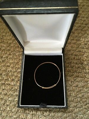 Yellow Gold Child's Expandable Christening Bangle Bracelet, worn once