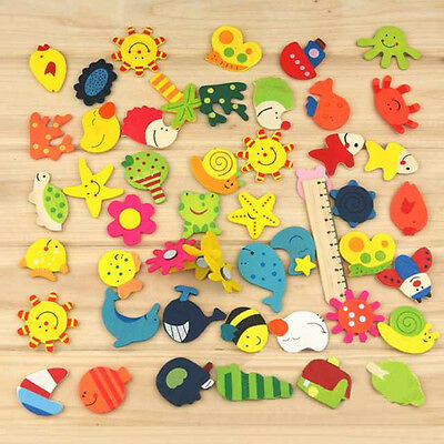 New 12Pcs Cartoon Animal Wooden Fridge Magnet Baby Educational Kids Leaning Toy