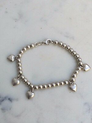 Sterling silver Hearts & Ball Beats Charms Bracelet