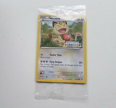 Build A Bear Meowth Pokemon Card Sealed and Vouchers