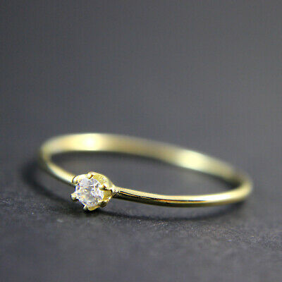 Yellow Gold Plated Sterling Silver Cubic Zirconia Extra Skinny Ring UK new