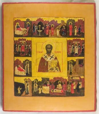 19c RARE RUSSIAN ICON SAINT NICHOLAS WONDER WORKER WITH LIFE SCENES