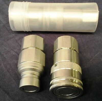 """Flat Face Hydraulic Couplers 1/2"""" Bspp Male And Female Pairs Bobcat, Yanmar"""