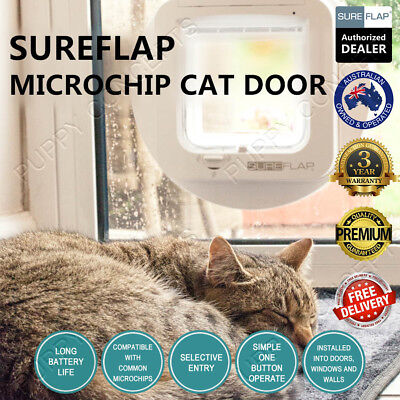 SureFlap Microchip Cat Door CatFlap White Brown Selective Keep Out Unwanted