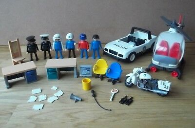 Bundle of Playmobil Police Car Helicopter Office Furniture Figures