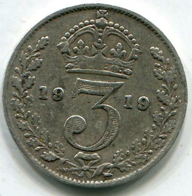 1919 Solid Sterling Silver World War One Period  vintage Threepence George V