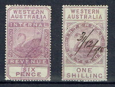WESTERN AUSTRALIA, 1893, Internal Revenue, 6d & One Shilling Swans, CV $80, 4659