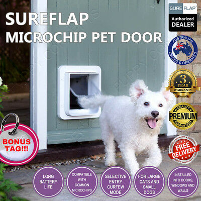 SureFlap Microchip Pet Door PetFlap White Brown Pet Cat Dog Curfew Keep Out