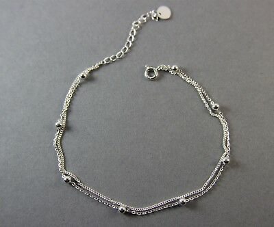 "925 Sterling Silver Layered Delicate Bracelet with Bead UK New 7.5""-9"" 2.0g"