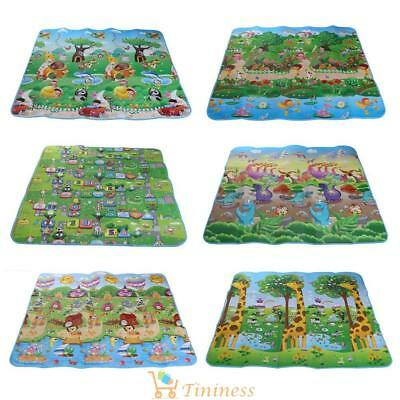 2 Side Foldable Kids Crawling Educational Game Baby Play Mat Soft Foam Carpet UK