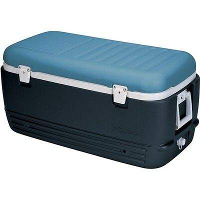 Maxcold 100 QT White Cooler Cool Box Ice Chest Jet Carbon / Ice Blue