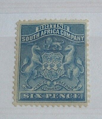 RHODESIA 1890 6d Blue British South Africa definitive. nice mint hinged example