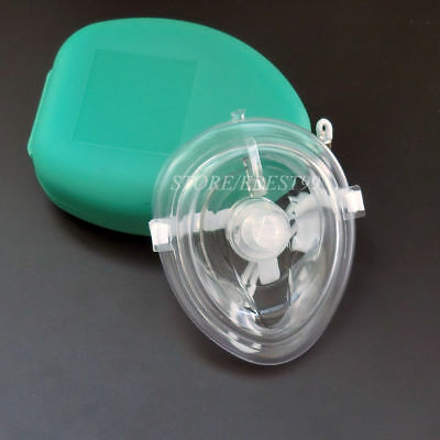 1 pcs CPR Mask AED First Aid Traning One Way Valve Filter CPR Pouch Mask  Green
