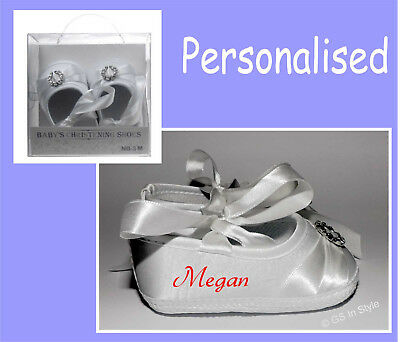 Personalised Baby Girls White Satin Shoes With Diamante Hoop Christening Booties