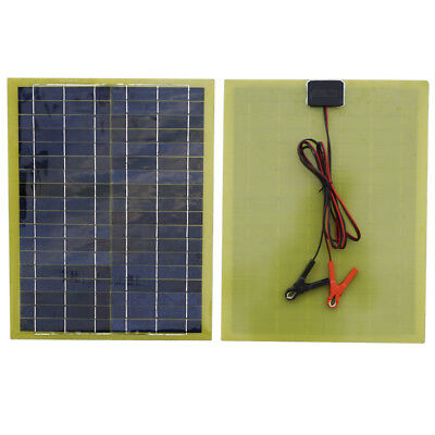 20W 18V Solar Panel W/ 2m Cable &1 Pair Battery Clips for Camping Power outdoor