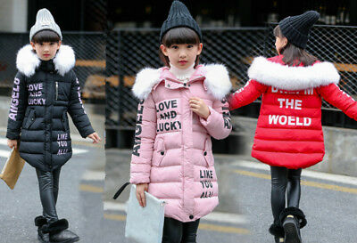 Kids Girls Winter Hooded Hoodies Trench Coat Jacket Outwear Long Parka Overcoat