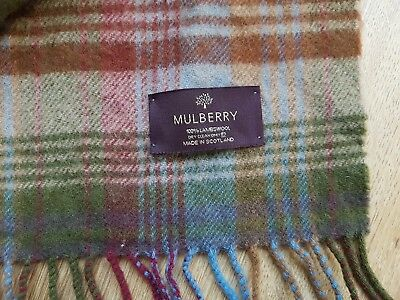 100% Genuine Mulberry Plaid  Lambswool scarf long 64''