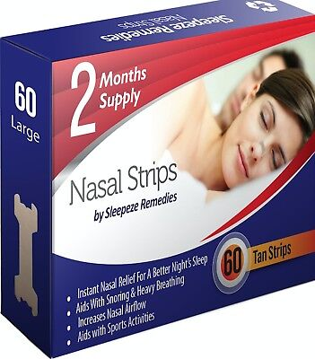 Nose Nasal Strips Stop Snoring Anti Congestion - Breathe Right Pack of 60 Strips