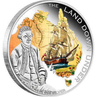 Australia 2013 1$ The Land Down Under - Captain James Cook Proof Silver Coin