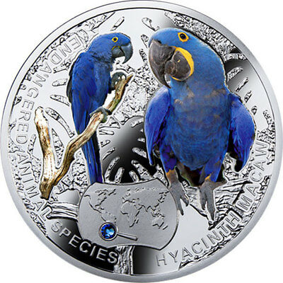 Niue 2014 1$ Hyacinth Macaw - Endangered Animal Species 1/2 Oz Proof Silver Coin