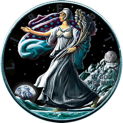 United States 2016 1$ Liberty walking Moon Ounce Space series 1oz BU Silver Coin