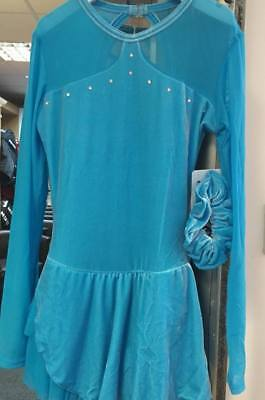 Ice Skating Dress Light Blue Crystals Chloe Noel Adult Small