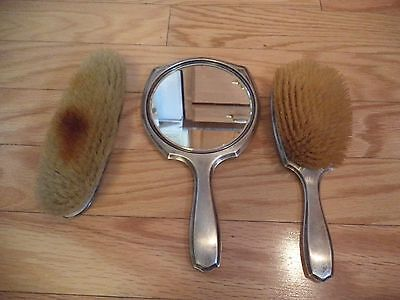 Vintage Sterling Silver Mirror & 2 Brushes Clearly Marked Nice!!