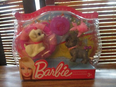 Barbie Pet Pack, Two Puppies Swim Ring, Frisbee and Fish (NEW)
