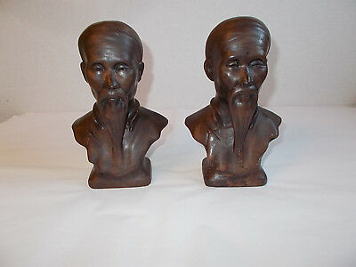 Pair Of Vintage Pottery Bust Statues Bookends Oriental Chinese Man w/ Fu Manchu