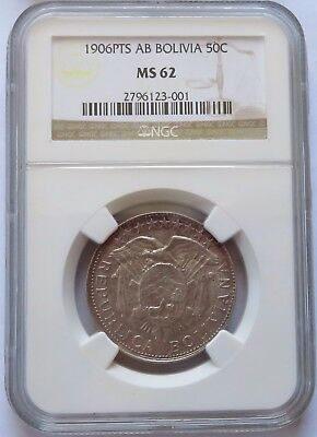 1906 PTS AB BOLIVIA 50 Centavos - NGC MS 62, Better Grade 50C coin (200914S)