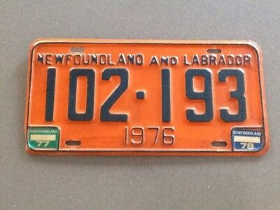 License Plate Newfoundland And Labrador 1976