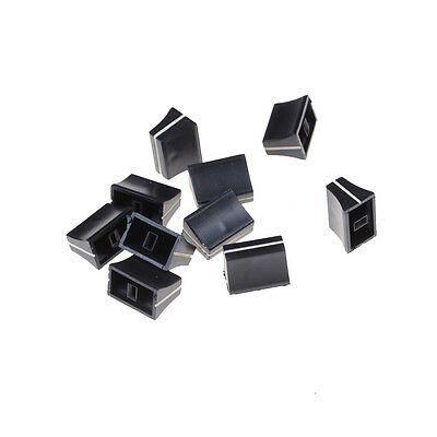 10 x Black Slide Potentiometer Mixer Fader Knob 19mmLx12mmW for 4mm Shaft 3C