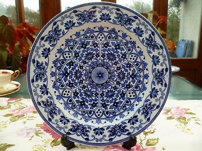 Vintage / Antique Booths Ironstone Blue & White Indian Ornament Plate 26.4 cm