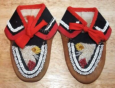 Antique IROQUOIS Native American Indian BEADED LEATHER Child's MOCCASINS Mohawk