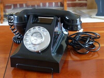 Vintage GPO Telephone Model 332L Colour Black Converted in Good Working Order