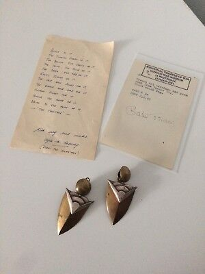 WWI First World War Trench Art Earrings And Poem
