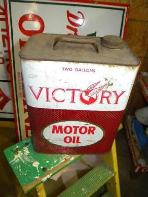 Old Victory 2 Gallon Motor Oil Metal Can Empty