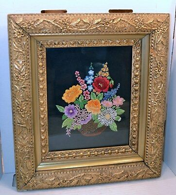 Victorian Framed Floral Needlework Bouquet of Flowers
