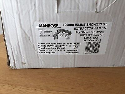 Manrose 100mm inline shower Extractor and light kit