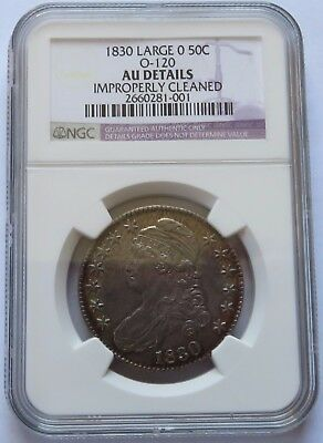 1830 Large 0 50C O-120, NGC AU Details Cleaned, Scarce 50 Cent Half coin(201025S