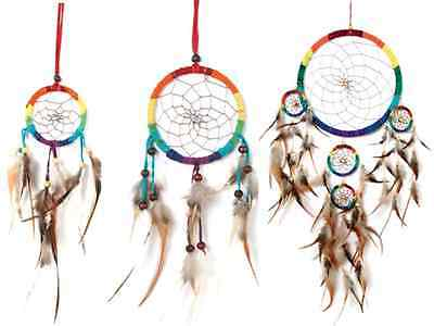 FairTrade Small or large Rainbow Dream Catcher cab wall hanging sweet dreams NEW
