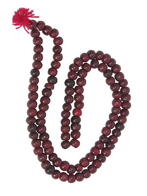 FAIR TRADE Buddhist prayer beads 108 rose wood mala malla bead rosary necklace