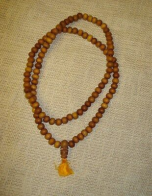 Fair Trade 108 Prayer beads genuine sandal wood Mala necklace Tibetan Buddhist