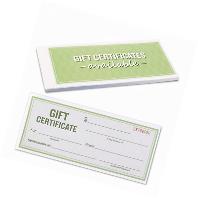 50-Sheet Gift Certificate Book - Carbonless Gift Certificates for Small Business
