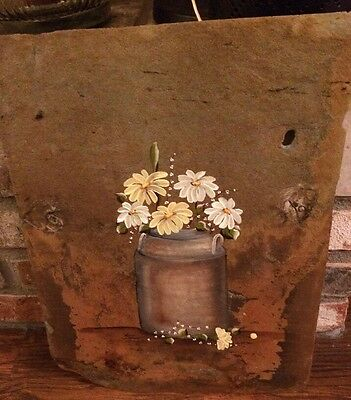 Slate Picture with Old Crock of Daisies