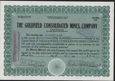 THE GOLDFIELD CONSOLIDATED MINES COMPANY Stock Certificate 1960 100 Shares